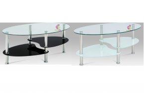 Konferenční stolek skleněný | konstrukce leštěný nerez | 100x60x41cm