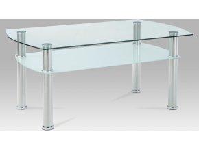 Konferenční stolek skleněný | konstrukce leštěný nerez | 100x60x44cm