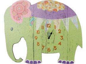 Nástěnné hodiny Slon zelený