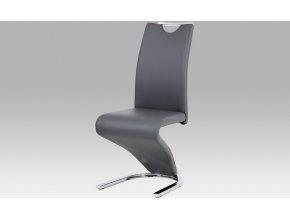 Moderní jídelní židle | koženka | chrom | 44x45x101x47cm