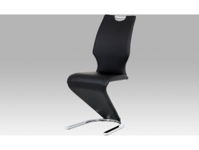 Moderní jídelní židle koženka černá | chrom