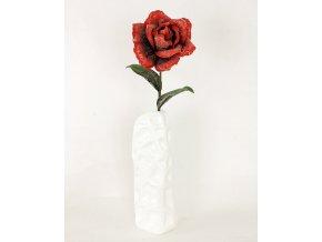 Umělá květina pěnová Růže červená mramorovaná
