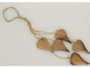Srdíčka dřevěná dekorační závěs 59cm