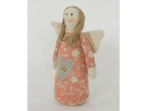Textilní dekorace andělka 15x7x20cm