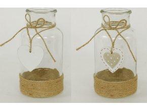 Váza vánoční skleněná s dřevěnou dekorací