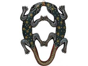 Dřevěná dekorace dvě ještěrky