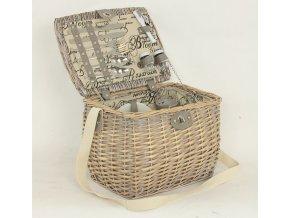 Piknikový koš vybavený pro 2 osoby, proutěný