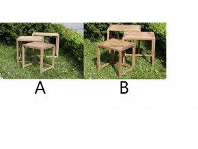 Odkládací stolek teakový Sada 3ks