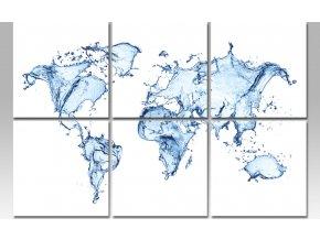 Obraz sada 6ks mapa světa