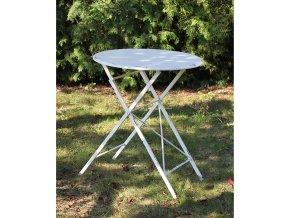 Stůl kovový/dřevo, barva bílá antik