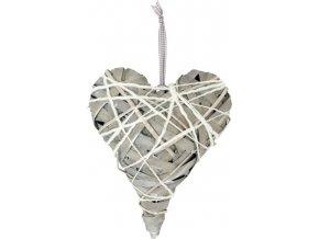 Srdce|ratan|šedé|30x40cm