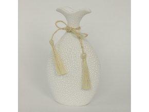 Váza keramická bílá 25x15x7cm