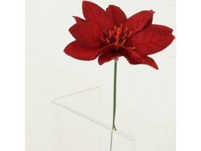 Umělá květina-vánoční růže poinsécie zápich