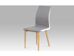 Jídelní židle látka sv. hnědá, boky bílá koženka, nohy masiv dub