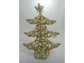 Stromeček s hvězdou zlatý 45x35x10cm