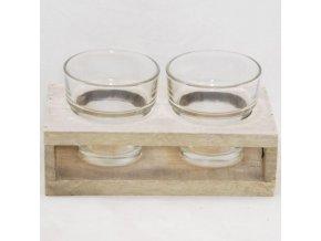 Dřevěný svícen s dvěma skleničkami na svíčku