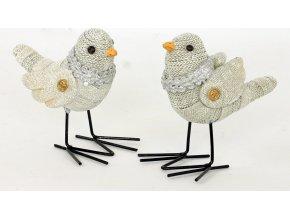 Ptáček polyresinová dekorace s bílými glitry