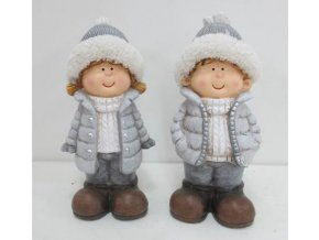 Keramická  figurka děvčátko nebo chlapec 10x10x23cm šedá