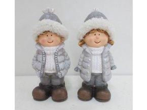 Keramická  figurka děvčátko nebo chlapec 8x7x18cm šedá