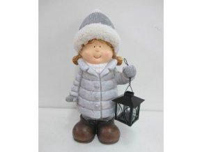 Keramické děvčátko v šedé barvě  s kovovou lucernu na čajovou svíčku