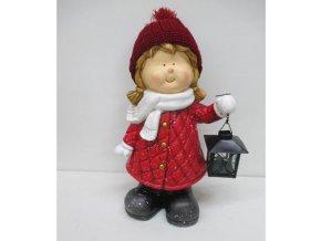 Děvčátko MgO keramická dekorace s kovovou lucerničkou na čajovu svíčku
