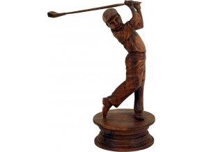 Soška Golfista | mahagonové dřevo | dřevořezba