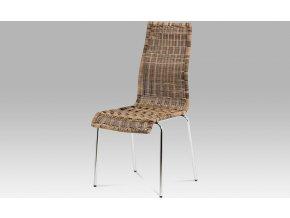 Jídelní židle chrom | UMĚLÝ ratan Melír