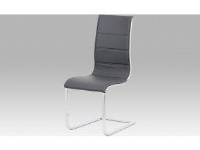 Jídelní židle šedá koženka | bílý lesk | chrom