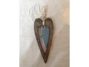 Závěs srdce Madera modré 17cm