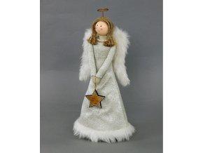 Textilní andělka s umělým plyšem 14x8x30cm