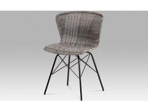 Jídelní židle kov černá | UMĚLÝ ratan | 46x41x70x48cm