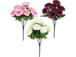 Květina umělá puget růží 9 květů