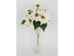 Umělá květina puget vánočních růží poinsécek bílých