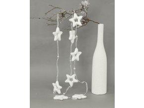 Girlanda  bílé hvězdičky s glitry 8ks