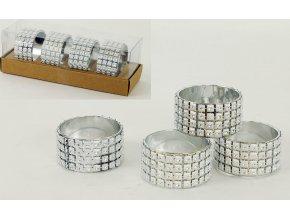 Kroužek na ubrousky - stříbrný - sada 4ks