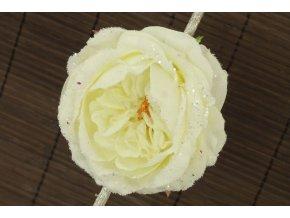Umělý květ růže na klipu glitrovaná