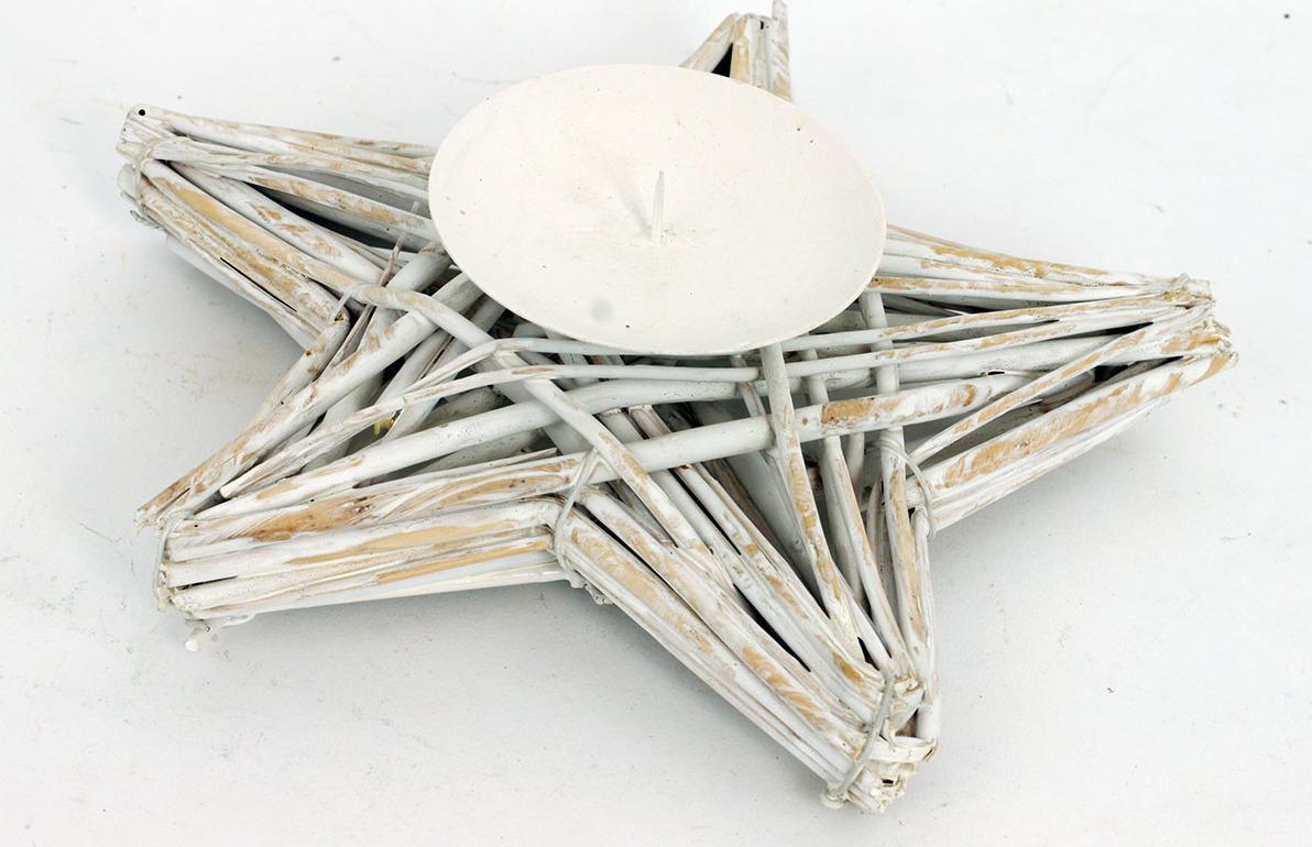 Proutěný svícen hvězda bílá 20x3cm