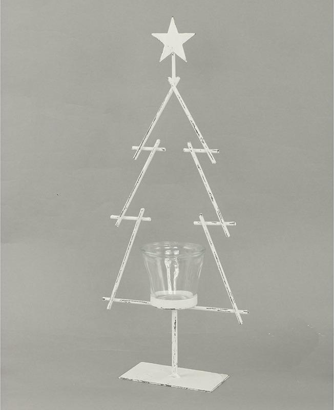 Svícen kovový na čajovou svíčku stromek 41x16x6cm