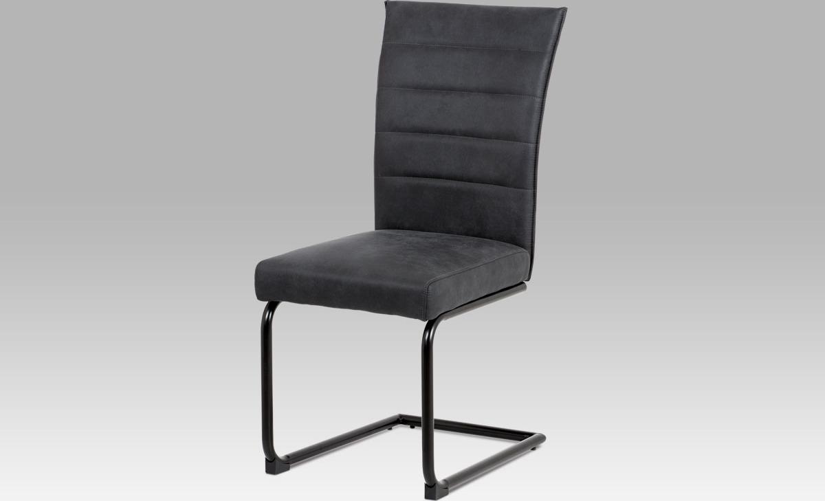 Artium Jídelní židle koženka | černý lak Barva: šedá