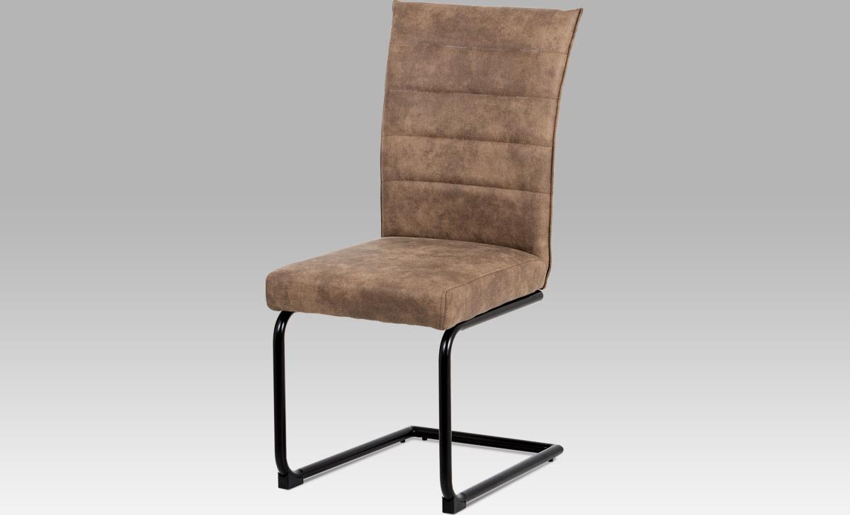 Artium Jídelní židle koženka | černý lak Barva: hnědá