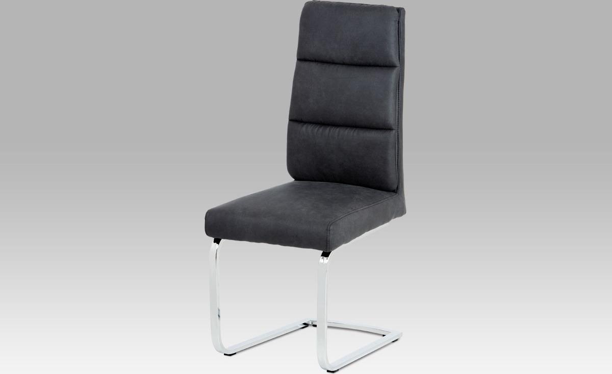 Jídelní židle | koženka | chrom | 46x48x108x48cm Barva: šedá