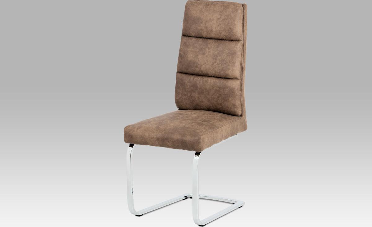 Jídelní židle | koženka | chrom | 46x48x108x48cm Barva: hnědá
