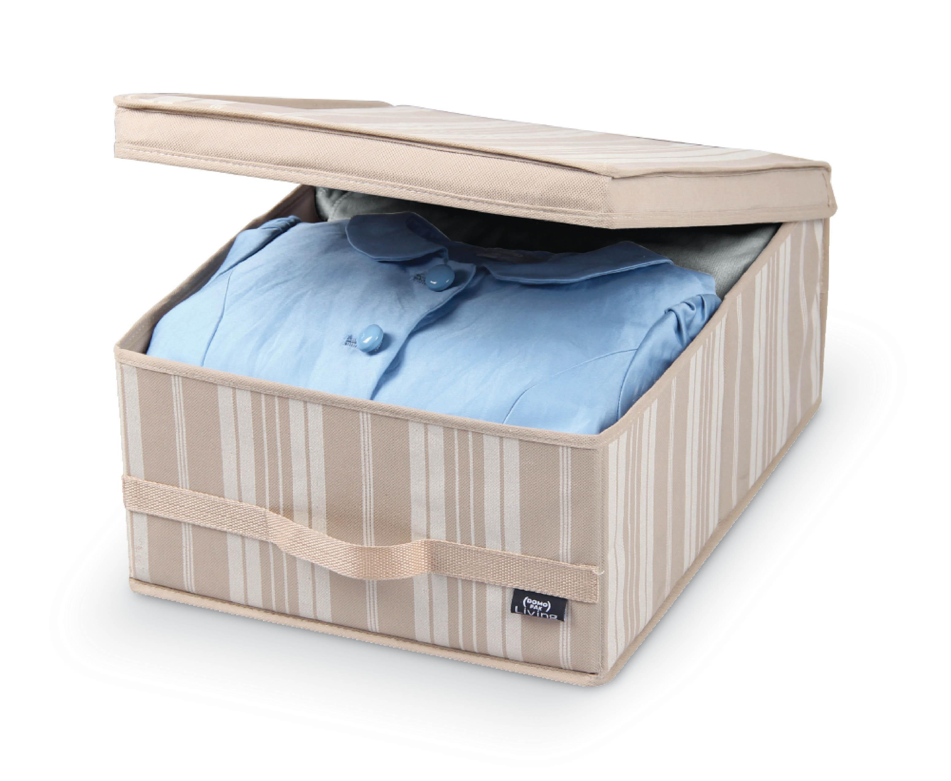 DOMOPAK Living Úložné boxy s úchytem béžové proužky Velikost: menší