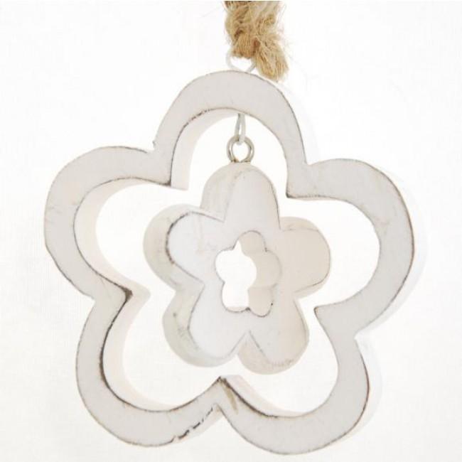Dekorační kytka | dřevěná | s kytičkou Barva: bílá