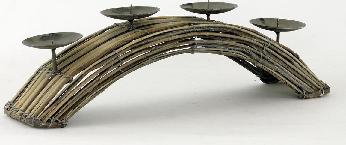 Svícen z proutí tvar oblouk antique hnědá 37cm