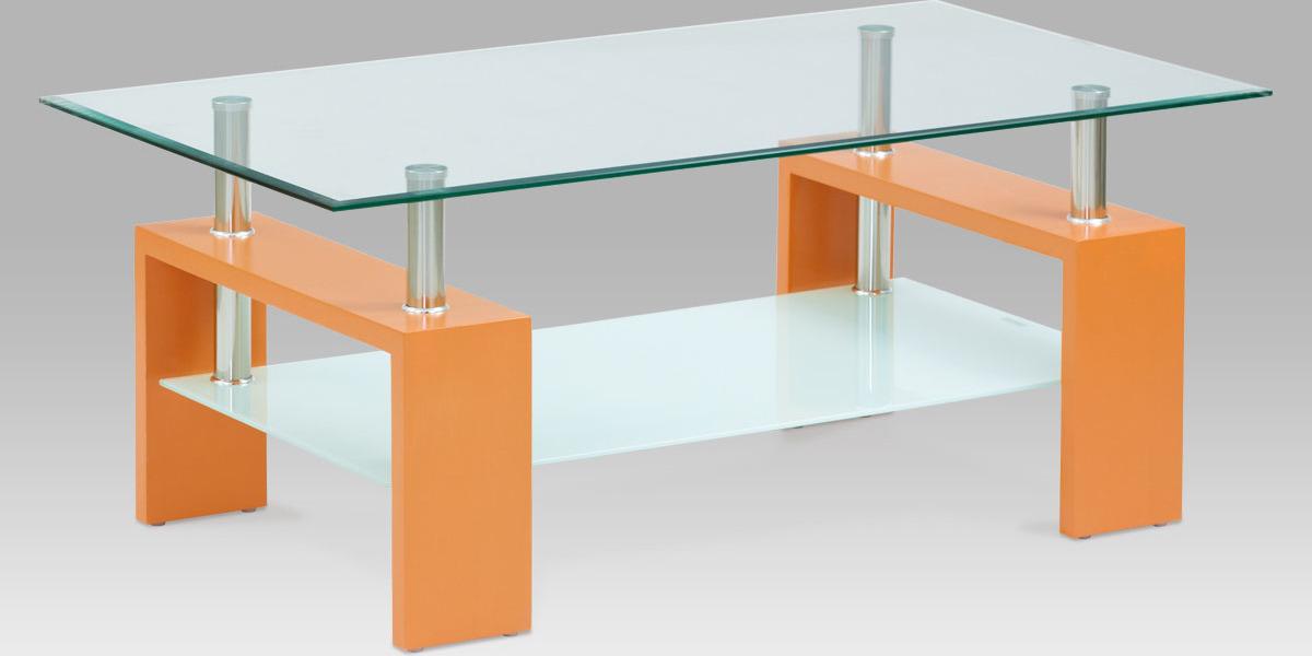 Skleněný konferenční stolek 110x60x45cm Barva: oranžová