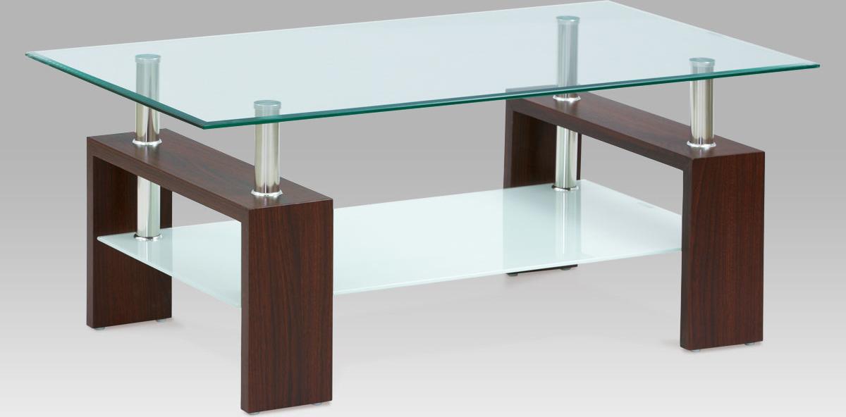 Skleněný konferenční stolek 110x60x45cm Barva: ořech