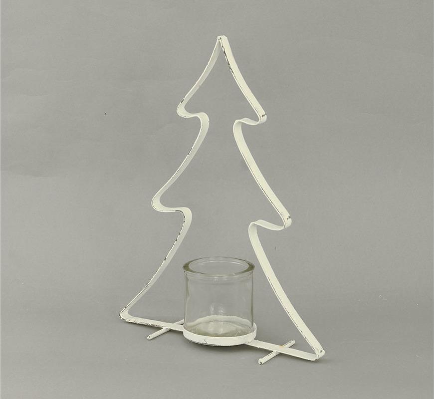 Svícen kovový na čajovou svíčku stromek