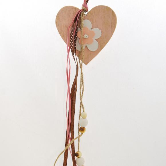 Dřevěné dekorační srdce s mašlemi 35x9,5x1 cm II