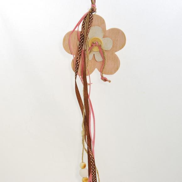 Dřevěná dekorační kytička s mašlemi 35x10x1 cm